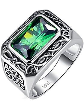 Bonlavie Herren Ring 6,85kt Smaragd 8x12mm Smaragdschliff Grün 925Sterling-Silber