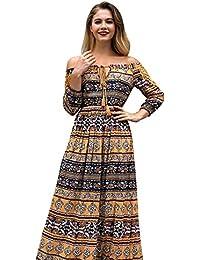 Vestido de Gasa Floral Elegante del Hombro Boho Elegante Verano Vestido Maxi Mujeres Vestidos