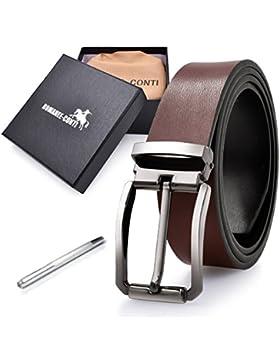ROMANEE-CONTI Cinturon Hombre Cuero Negro Marrón Ancho Reversible Casual De Negocios Metal De Hebilla Cinturón...