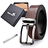 Mens Real Leather Belt Black Reversible Removable Adjustable Buckle Belt Jeans Casual Formal Belts Brown 135cm