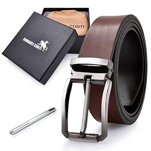 ROMANEE-CONTI Cinturon Hombre Cuero Negro Marrón Ancho Reversible Casual De Negocios Metal De Hebilla Cinturón Trabajo Hombre 125cm Largo