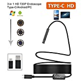 USB Type-C Endoscope,CrazyFire 8.0mm HD 3 IN 1 Semi-rigid Borescope Inspection Camera,Waterproof Flexible Snake Camera for Type-C/Android/Laptop(5M/16.4ft)