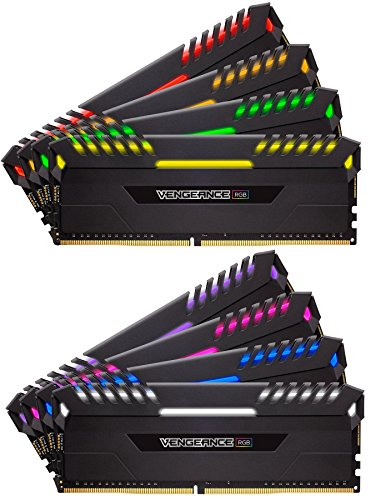Corsair Vengeance RGB Kit di Memoria Illuminato RGB LED Entusiasta 128 GB (8x16 GB), DDR4 3800 MHz,, C19 XMP 2.0, Nero