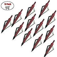 Paquete de 12 Flechas Broadheads 3 cuchillas Tiro con arco Flechas Cabezas 100 granos para ballesta y arco compuesto (Rojo)