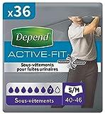 Depend Active Fit Sous-Vêtements Homme (7 Gouttes) Taille S/M pour Fuites Urinaires...