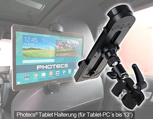 Photecs® Universal Auto Tablet-Halterung Pro V1 für iPad Pro und andere Tablet-PC bis zu 14 Zoll oder Smartphone ab 5 Zoll (max. Breite 27,5 cm)