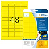 Herma 8030 Wetterfeste Folienetiketten gelb (45,7 x 21,2 mm) 1.200 Aufkleber, 25 Blatt A4 Klebefolie matt, bedruckbar, stark selbstklebend