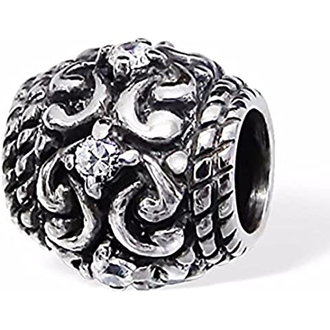 Silvadore–Ciondolo in argento antico Antique Vintage Paisley cristallo CZ Anello Ondulato A Righe Vortici–925Sterling Ciondolo scorrevole in 3d, adatto per bracciale Pandora, in confezione regalo