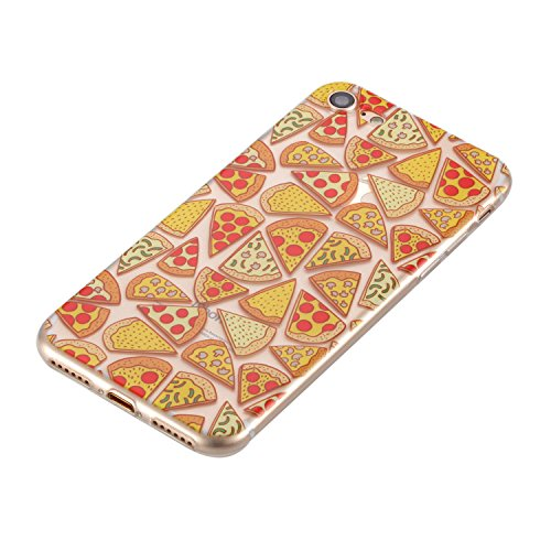 Custodia iPhone 7, iPhone 7 Cover Silicone, SainCat Cover per iPhone 7 Custodia Silicone Morbido, 3D Design Ultra Slim Transparent Silicone Case Ultra Sottile Morbida Transparent TPU Gel Cover Case Sh Pizza