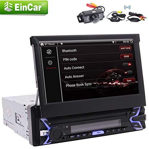 EINCAR Car Stereo Single 1 Din mit 7-Zoll-Flip Out Touch Screen GPS-Navigation Freilauf WiFi Lenkbarkeit AUX Android 9.0 Pie System Auto SD/USB-Spiegel-Link-Unterstützung drahtlose
