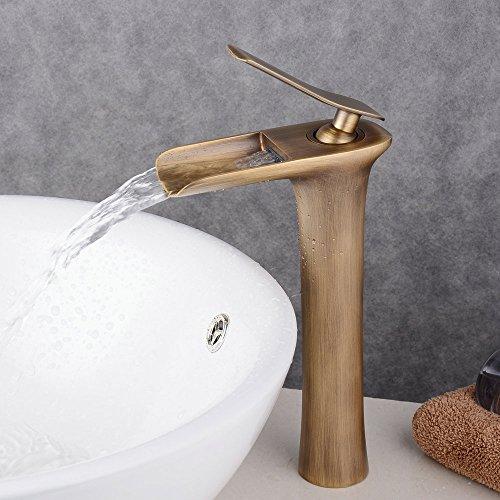 Beelee Wasserfall Wasserhahn antiken bronze Messing becken spuele wasserhahn single mit wasserhaehne Antique bronze