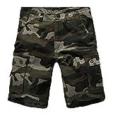 LaoZanA Cargo Shorts Bermudas Hombre Pantalones Cortos Camuflaje Multi-Bolsillo Tamaño Grande Verde 38