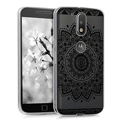 kwmobile Funda para Motorola Moto G4 / Moto G4 Plus - forro de TPU silicona cover protector para móvil - Case Diseño Flores negro transparente