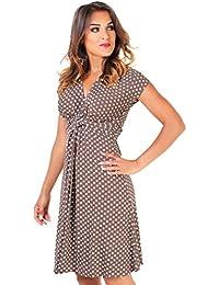 KRISP Damen Kurze Wickelkleider Minikleid Swing Große Größen 36 - 48