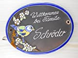 Türschild Keramikschild Vogel auf Ast mit Blumen Haus Keramik Haustürschild