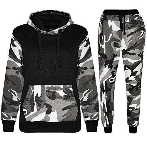 Kids Boys Girls Unisex Plain Casual Tracksuit Sweat Pants & Hoodie Set (11-12 Years, Army Black)