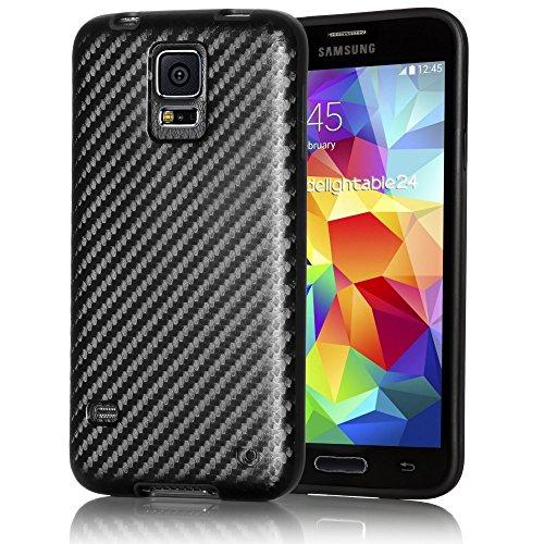 delightable24 Carbon Design Schutzhülle Hülle TPU Silikon Cover Case SAMSUNG GALAXY S5 / S5 NEO Handyhülle - Schwarz