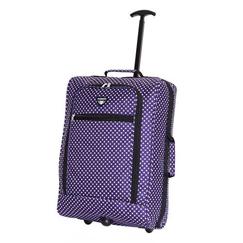 Slimbridge Montecorto super leggero 55 cm bagaglio a mano con ruote, Pois Viola