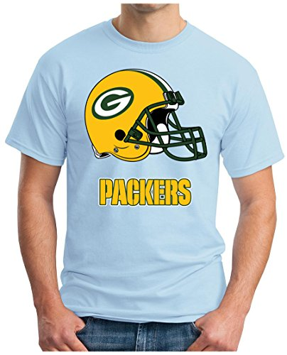 OM3 Green-Bay Packers - T-Shirt | Herren | American Football Shirt | Super Bowl 52 LII | NFL | S - 5XL Hellblau