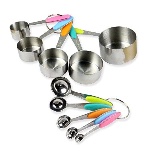 Edelstahl 5Set Messbecher (30ml, 60ml, 80ml, 125ml und 250ml) + 5er Set Messlöffel (1.25ml 2.5ml 5ml 7,5ml 15ml) für Kochen und Backen