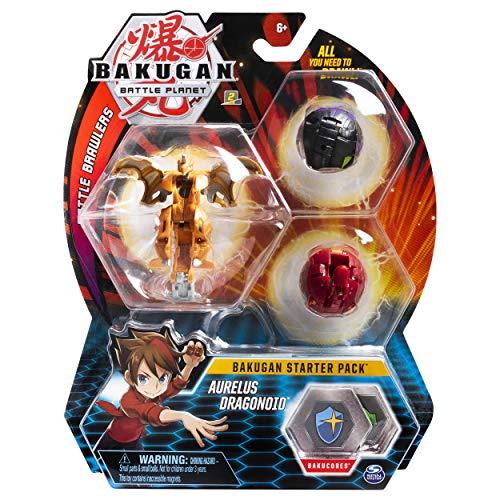BAKUGAN 6055457 3-Pack, Collectible Action Figures, for Ages 6 and Up Starter-Pack Aurelus Dragonoid, Sammelfiguren für Kinder ab 6 Jahren, Mehrfarbig