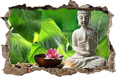 Pixxprint 3D_WD_S2098_62x42 Seerosenblüte mit kleiner Buddha Statue Wanddurchbruch 3D Wandtattoo, Vinyl, bunt, 62 x 42 x 0,02 cm von Colorix - TapetenShop