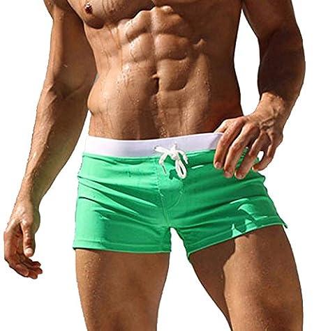 Minetom Homme Maillot de Bain Boxer Trunks Shorts Pantalon Court de Sport Avec Avant Tie Pour Plage Natation Plongée Vert EU M