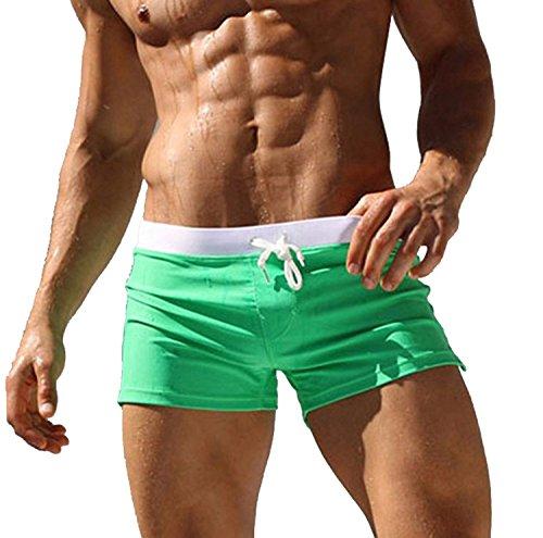 Tomsent 2017 Homme Maillot de Bain Boxer Trunks Shorts Pantalon Court de Sport Avec Avant Tie Pour Plage Natation Plongée Men Pants Vert EU M
