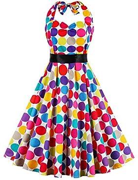 Botomi Le donne Degli anni '50 a Pois Colorati Rockabilly Vintage Festa Vestito Scollato