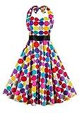Botomi Frauen - Rockabilly 50er Oldtimer Bunte Polka dots Schulterfreien Cocktail - Kleid