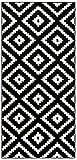 Tapiso Luxury Tapis de Couloir Salon Chambre des Jeunes Moderne Noir Blanc Géométrique Carreaux Losanges 80 x 230 cm