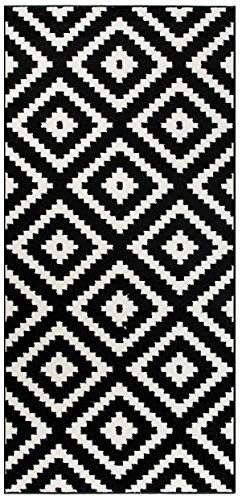 Tapiso Luxury Läufer Flur Küche Korridor Kurzflor Teppich Brücke Designer Schwarz Weiss Karo Marokkanisch Geometrisch Muster ÖKOTEX 70 x 220 cm