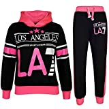 A2Z 4Kids Survêtement pour filles Impression Los Angeles Sweat à capuche et bas de jogging 78910111213ans, Black & Neon Pink, 122 cm
