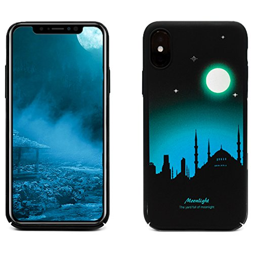 ProtectPax Iphone X TPU Monlight Case Cover IPhone Hülle - Blau/Mond/Stadt leuchtet im Dunkeln Schutzhülle IPhone 10 Handyhülle mti Stil Apple Bumber