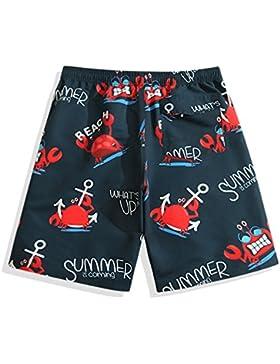 Oottati Verano Hombres Vacaciones Playa Ancla De Cangrejo Rojo Azul Oscuro Pantalones Cortos A29