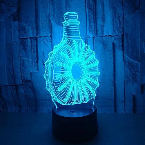 Visual Lumière 3D Lamp Illusion D'optique Lumières LED 7 Couleurs Changent LED Desk Table Night Lights Pour Enfants Adultes Chambre À Coucher Salon Décoration De La Maison,Bouteille De Vin Rouge