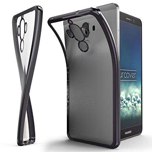 Urcover® Huawei Mate 9 Handyhülle Grau | TPU Silikon Schutzhülle durchsichtig | Spiegelrand Hülle Transparent | Slim Cover Tasche | dünne Schale | Back-Case flexibel | Smartphone Zubehör