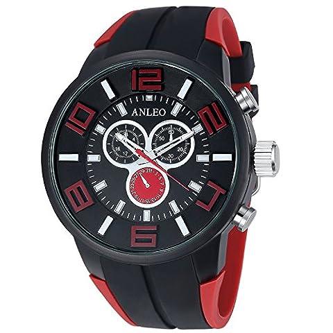ANLEO 1PCS Red 3ATM Water Resistant Men Women Unisex Sport Watch Rubber Strap Steel Quartz Men Military Wristwatch
