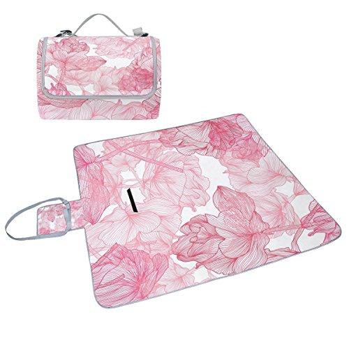 COOSUN Pink Roses Picknick Decke Tote Handlich Matte Mehltau resistent und wasserfest Camping Matte für Picknicks, Strände, Wandern, Reisen, Rving und Ausflüge
