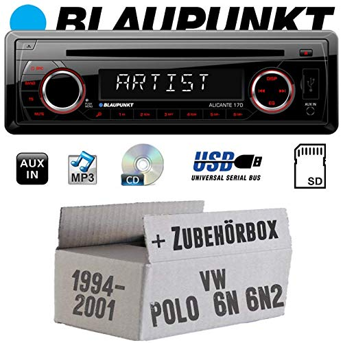 Autoradio Radio Blaupunkt Alicante 170 - CD/MP3/USB - Einbauzubehör - Einbauset für VW Polo 6N + 6N2 - JUST SOUND best choice for caraudio
