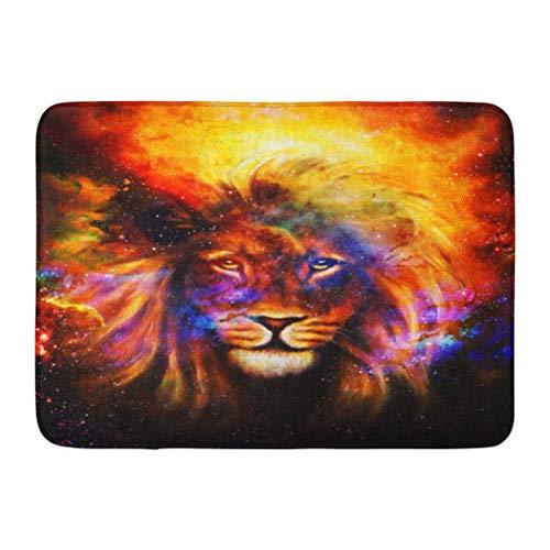 LIS HOME Fußmatten Badteppiche Outdoor/Indoor Fußmatte Farbe Portrait Löwe im kosmischen Raum Augenkontakt Kopf Gesicht Tier König Badezimmer Dekor Teppich Badteppich
