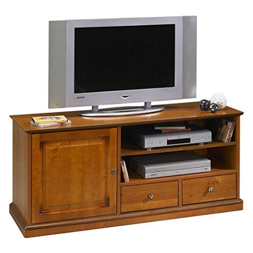 ACTUAL DIFFUSION 6739 ALSACE Grand Meuble TV à Roulettes Bois 46,5 x 134,5 x 58,5 cm