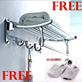 #9: GS Gujarat Platinum Stainless Steel Folding Towel Rack (2 feet Long ) With Bathroom Classic Double Soap Dish- Best Offer