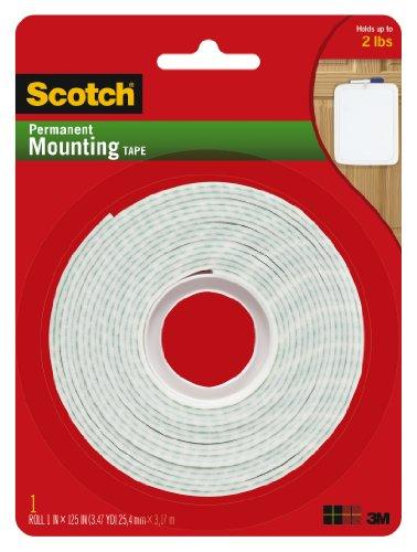 Scotch Montage-Klebeband permanent, 1cm x 125cm Pack De 1 weiß