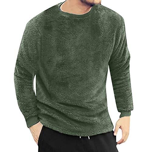 HEETEY Sweatshirt Pullover Pullover Kapuzenpullover Herbst-Winter-lässiger O-Neck Lose doppelseitige Plüschoberteile Blusen T-Shirt Langärmliges T-Shirt-Oberteil aus Plüsch -