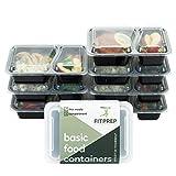 [7er Pack] FITPREP® 2-Fach Meal Prep Container | Modell 2017 | Stapelbar, Wiederverwendbar, Spülmaschinenfest, Mikrowellen-, Gefrierschrankgeeignet | neuer, verstärkter Deckel | Bento Box | Lunchbox