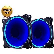 EasyDiy PWM de 120 mm LED azul del ventilador silencioso de cajas de la computadora, CPU Coolers, Radiadores y ultra silencioso alto flujo de aire caja de la computadora del ventilador, Twin Pack