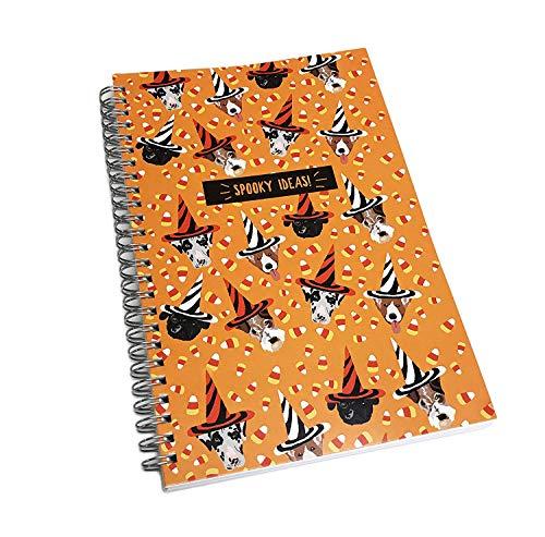 OIBHFO Home Gespenstische Ideen Niedliche Halloween-Hunde in festlichen Hüten Spirale gebundenes Neuheit-Notizbuch