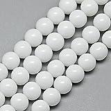 Naturstein Jade Perlen Halbedelstein 6mm OPAK Weißer RUND 50Stk Edelstein Jede Beads Perle Zum Fädeln für DIY Kette Basteln G224