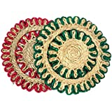 Majik New Style Jute Cup Table Mat For Home, Round-Shaped Natural Jute Rope For Dining Table Cup Mat, Set Of 2, Red And Green, 25 Gram, Pack Of 1